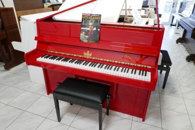 Krásné červené pianino WILLIS<br>se zárukou a doprava zdarma.