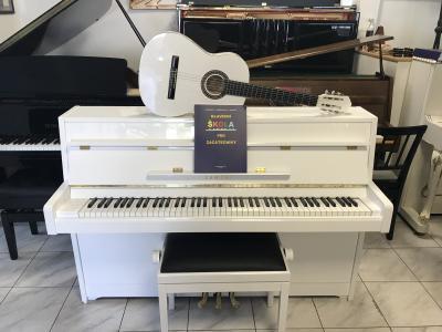 Bílé pianino Yamaha se zárukou + dárek klasik kytara + noty.